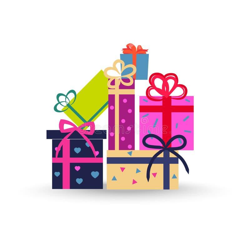 在白色背景传染媒介的五颜六色的礼物盒 库存例证