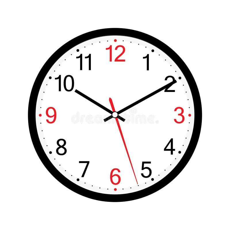 在白色背景传染媒介设计隔绝的壁钟 ??eps10 在白色backgrou隔绝的经典圆的壁钟 库存例证