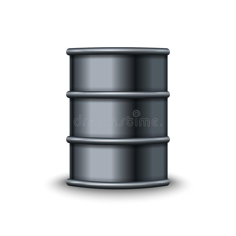 在白色背景传染媒介隔绝的黑金属桶 向量例证