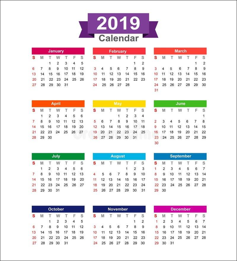 在白色背景传染媒介illustra隔绝的2019年日历 免版税库存照片