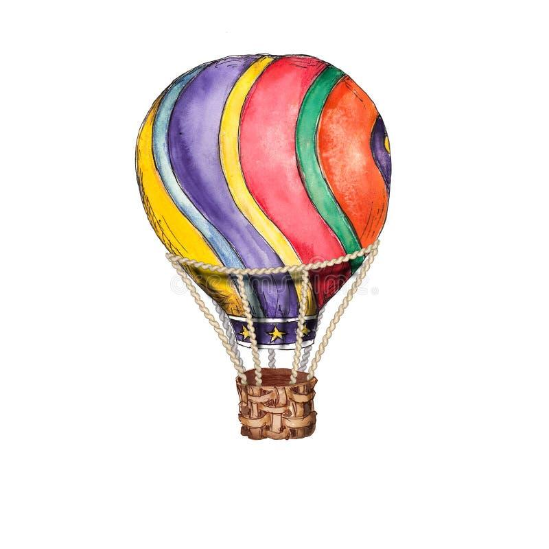 在白色背景例证隔绝的热空气气球葡萄酒马戏水彩手拉的对象 皇族释放例证
