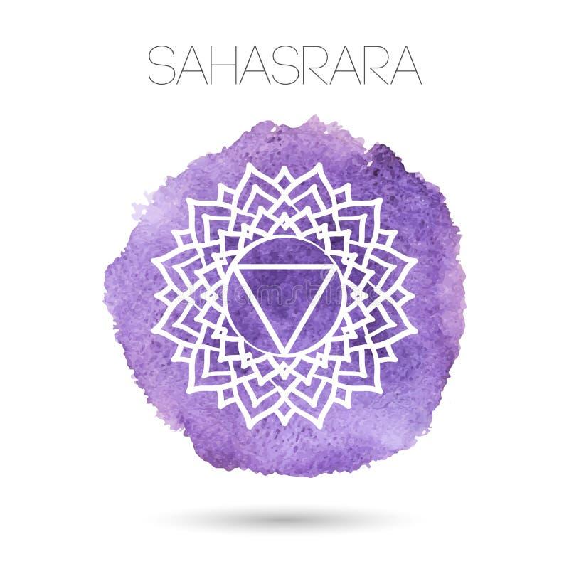 在白色背景例证隔绝的传染媒介七chakras之一- Sahasrara 水彩被绘的纹理 向量例证