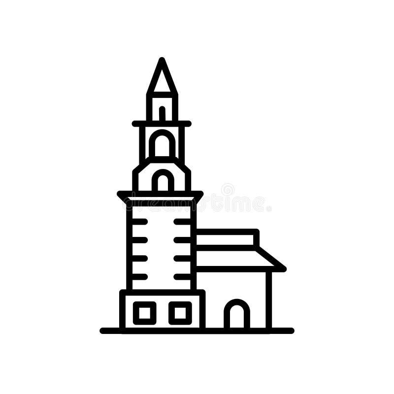 在白色背景俄罗斯象传染媒介的隔绝的涅维扬斯克涅维扬斯克塔,塔俄罗斯标志的,线或者线性标志, 皇族释放例证