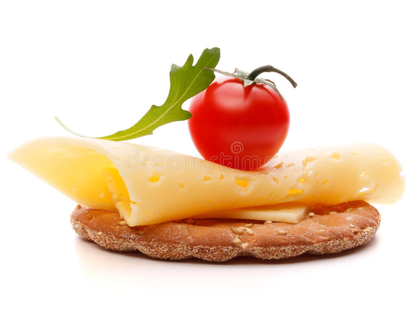 在白色背景保险开关隔绝的乳酪三明治 库存图片