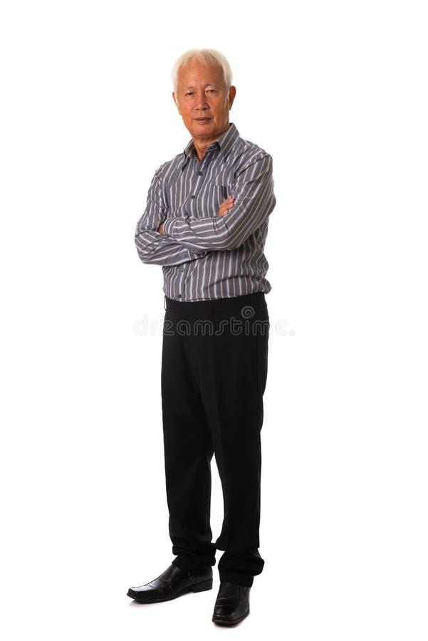 在白色背景充分的身体的亚洲商人 免版税图库摄影