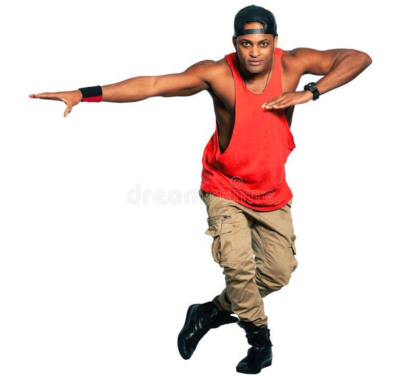在白色背景充分隔绝的舞蹈家黑人 可利用的PNG 免版税库存图片