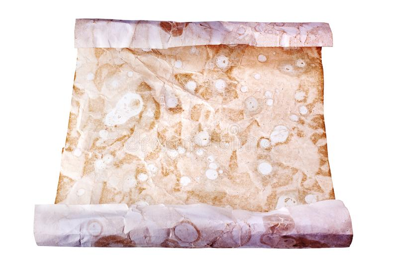 在白色背景关闭的老包装纸卷,纸卷古色古香的文件设计,拷贝空间,历史古老信件 免版税库存照片