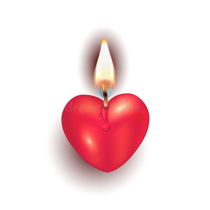 在白色背景分开的对象传染媒介的燃烧的蜡烛心脏.