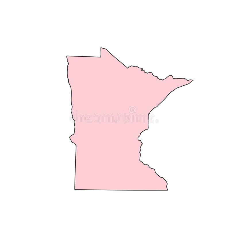 在白色背景剪影隔绝的明尼苏达地图 明尼苏达美国状态 库存例证
