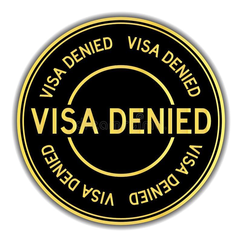 在白色背景否认的词签证的黑色和金子颜色贴纸 向量例证