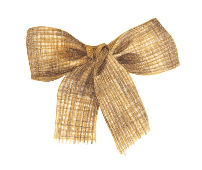 在白色背景和丝带隔绝的粗麻布弓 向量例证