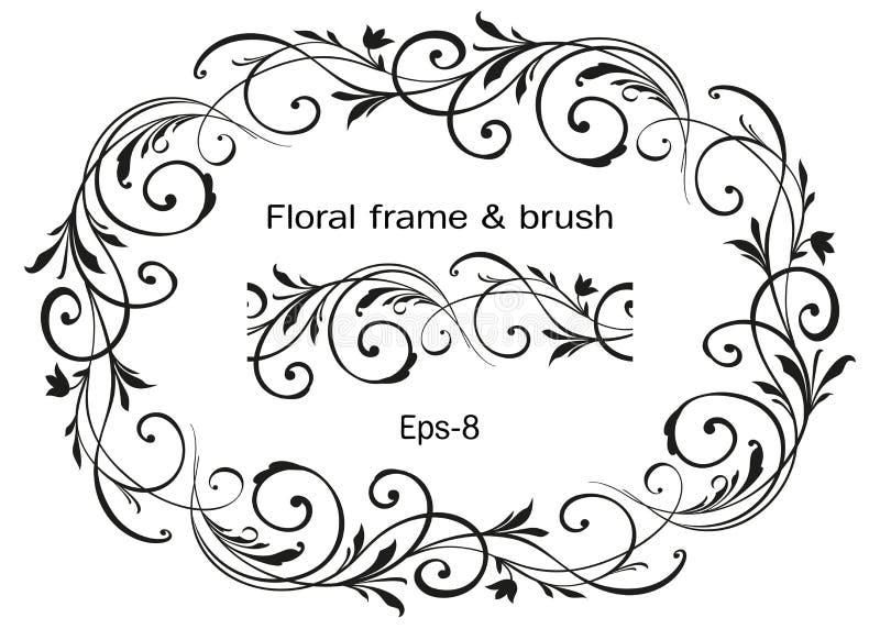 在白色背景和刷子隔绝的花卉华丽花圈 Horisontal卵形传染媒介元素 的救球的葡萄酒框架 向量例证