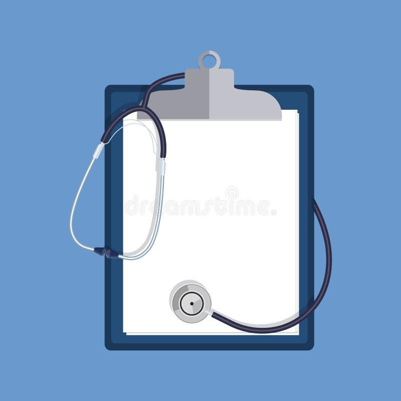 在白色背景和剪贴板隔绝的听诊器 库存例证
