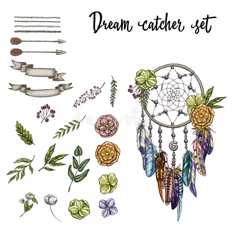 在白色背景和各种各样的设计元素隔绝的套手拉的华丽Dreamcatcher、花 也corel凹道例证向量 向量例证