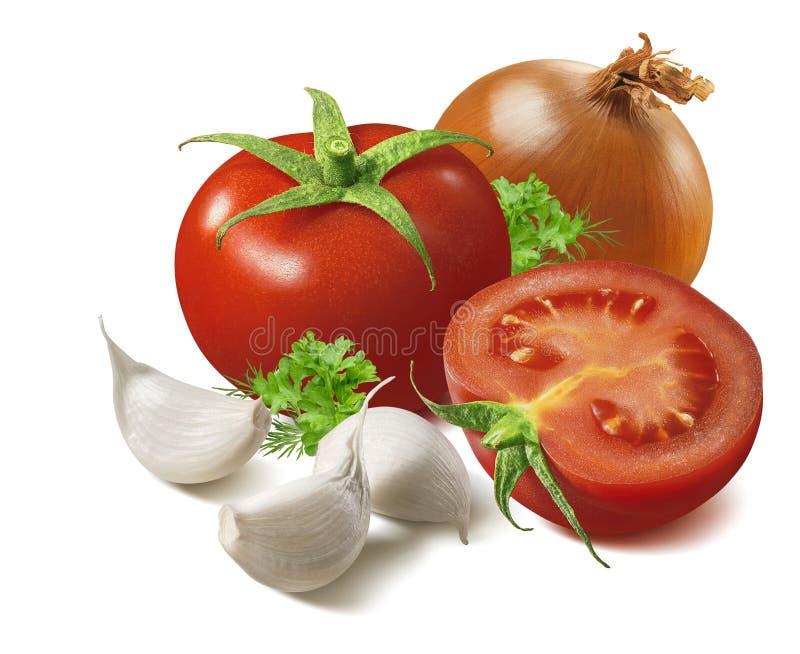 在白色背景和大蒜隔绝的蕃茄、葱 免版税图库摄影