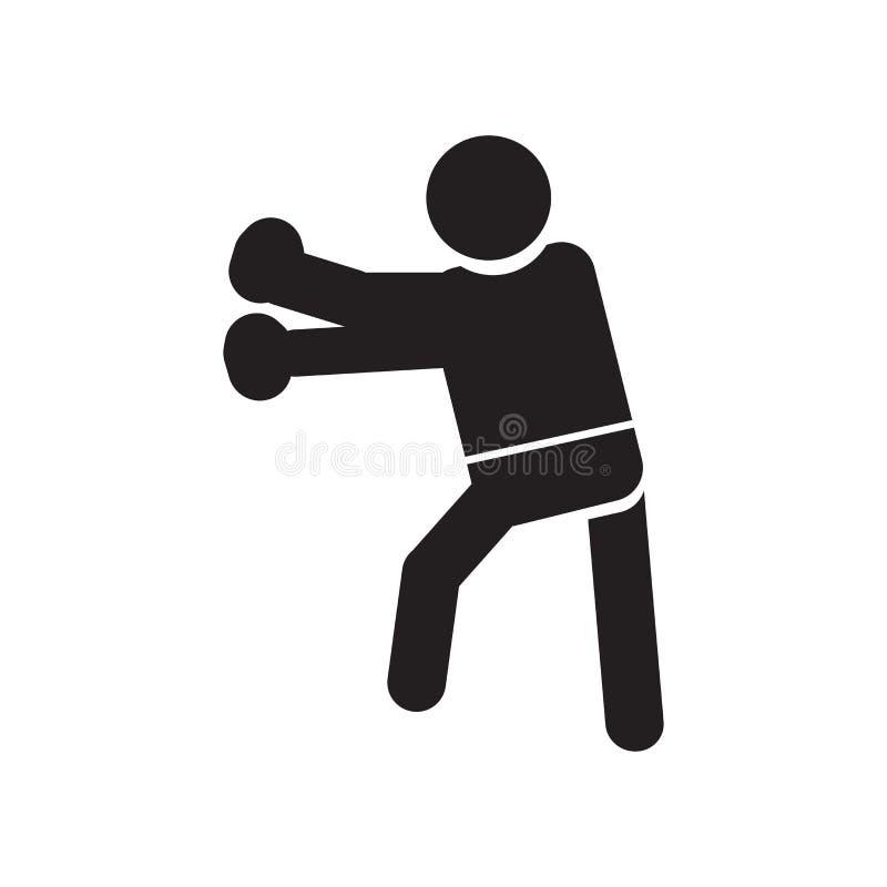 在白色背景和标志隔绝的人猛击的象传染媒介标志,人猛击的商标概念 库存例证