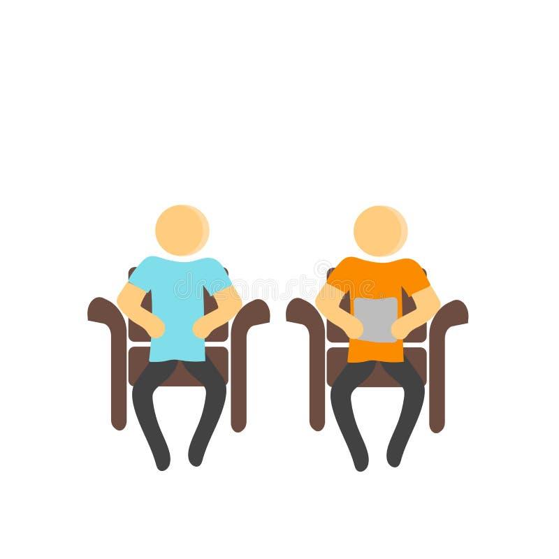 在白色背景和标志隔绝的坐的象传染媒介标志,坐的商标概念 皇族释放例证