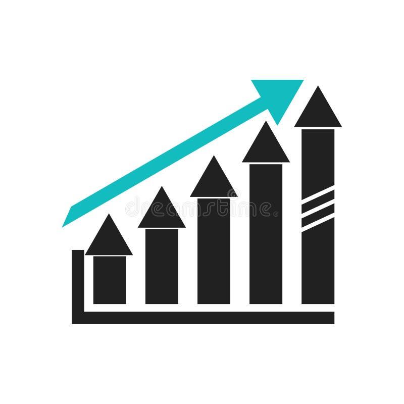 在白色背景和标志隔绝的增长的股票图表象传染媒介标志,增长的股票图表商标概念 库存例证