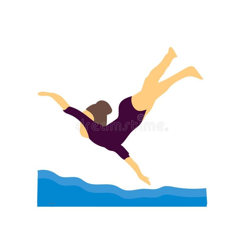 在白色背景和标志隔绝的女孩游泳的传染媒介传染媒介标志,女孩游泳的传染媒介商标概念 库存例证