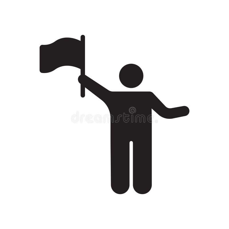 在白色背景和标志隔绝的挥动的旗子象传染媒介标志,挥动的旗子商标概念 皇族释放例证