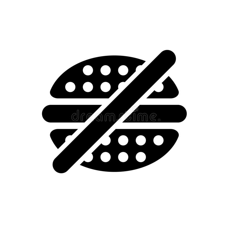 在白色背景和标志隔绝的没有便当象传染媒介标志,没有便当商标概念 向量例证