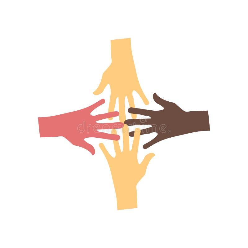 在白色背景和标志隔绝的没有种族主义象传染媒介标志,没有种族主义商标概念 皇族释放例证