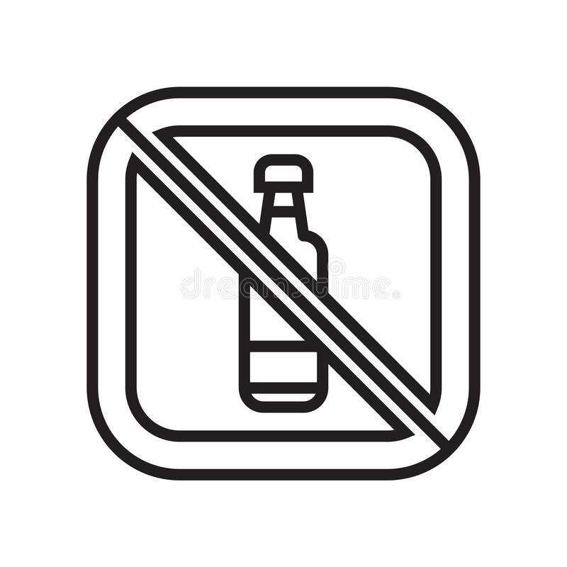 在白色背景和标志隔绝的没有饮料象传染媒介标志,没有饮料商标概念 向量例证