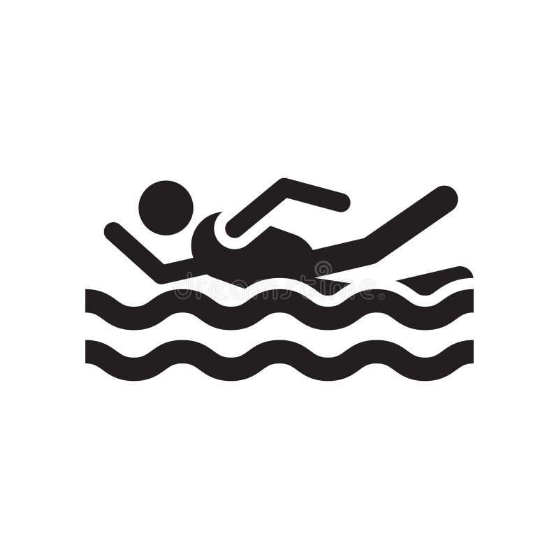 在白色背景和标志隔绝的游泳的象传染媒介标志,游泳的商标概念 向量例证
