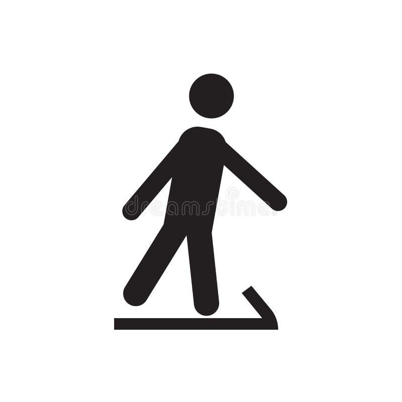 在白色背景和标志隔绝的滑雪者滑雪的象传染媒介标志,滑雪者滑雪商标概念 向量例证