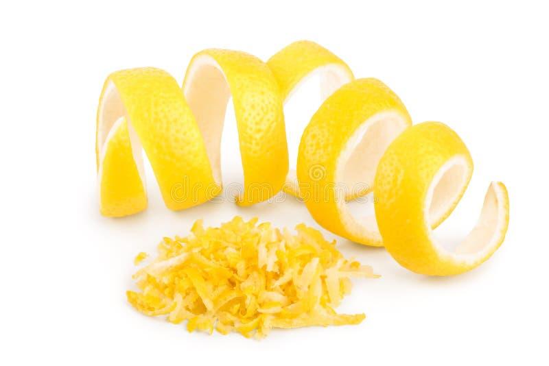 在白色背景和热心隔绝的柠檬皮 r 库存图片