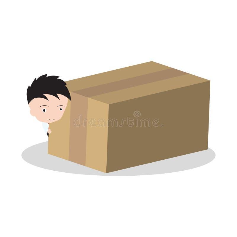在白色背景和箱子、物品、礼物交付运输的和服务24hrs概念隔绝的商人 库存例证