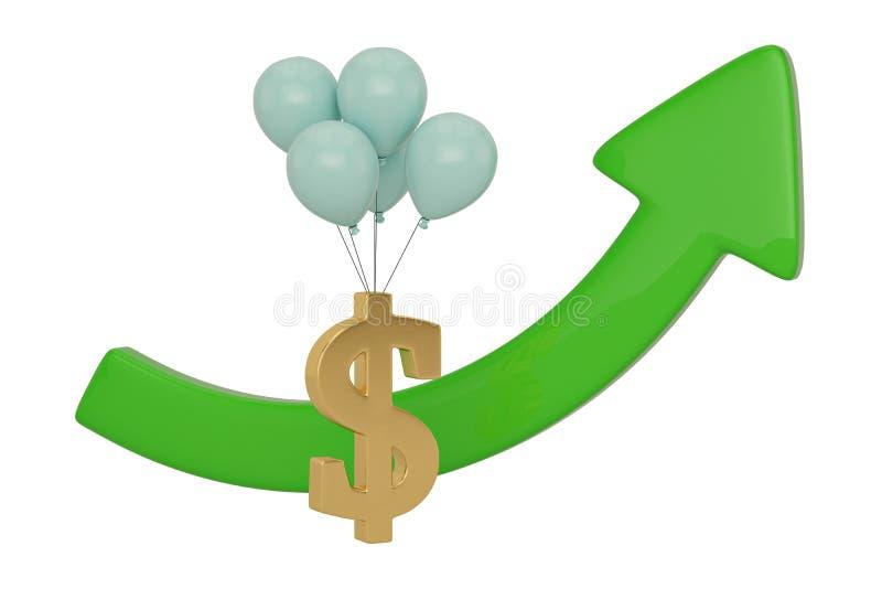 在白色背景和绿色箭头隔绝的美元的符号 3d?? 库存例证