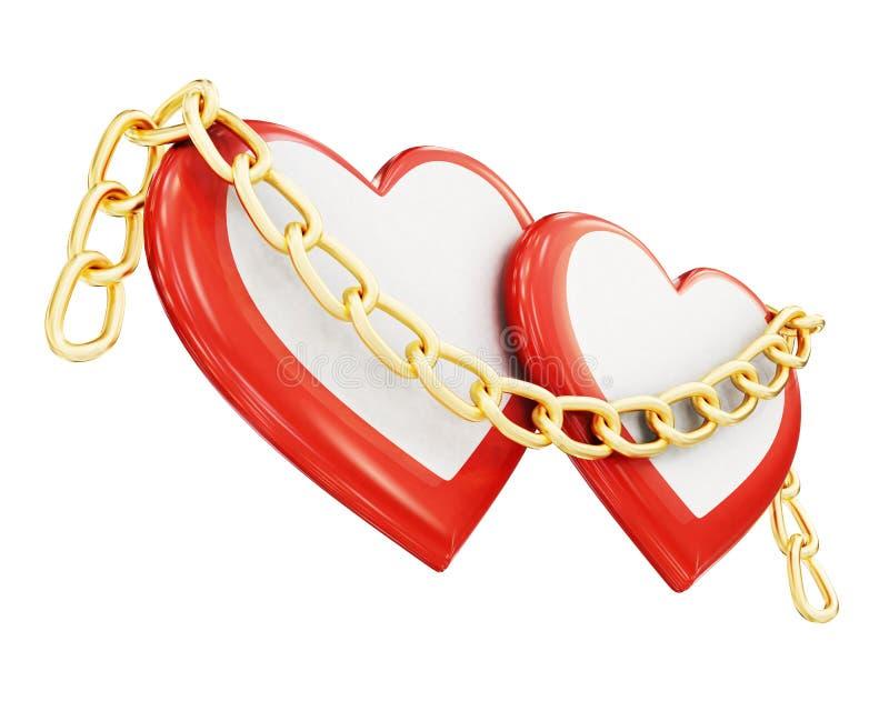 在白色背景和链子隔绝的两个心脏 3d翻译 向量例证