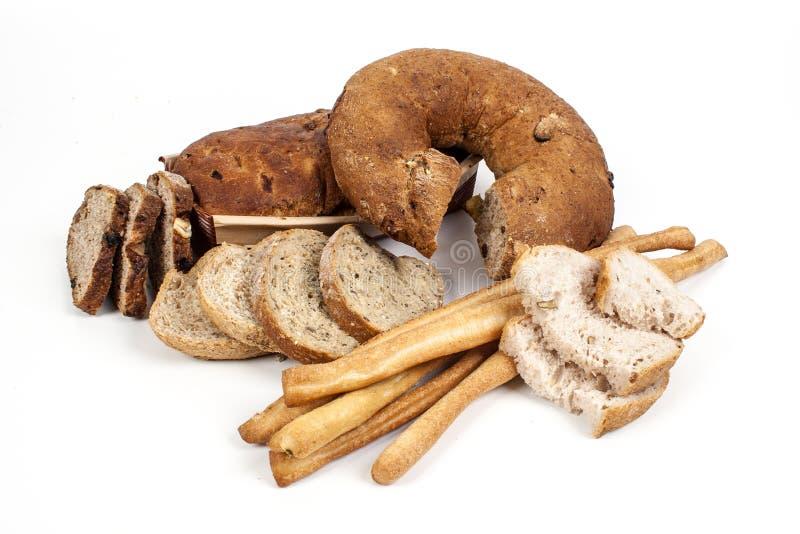 在白色背景和面包棒隔绝的面包 免版税图库摄影