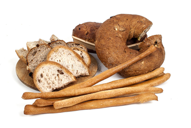 在白色背景和面包棒隔绝的面包 免版税库存照片