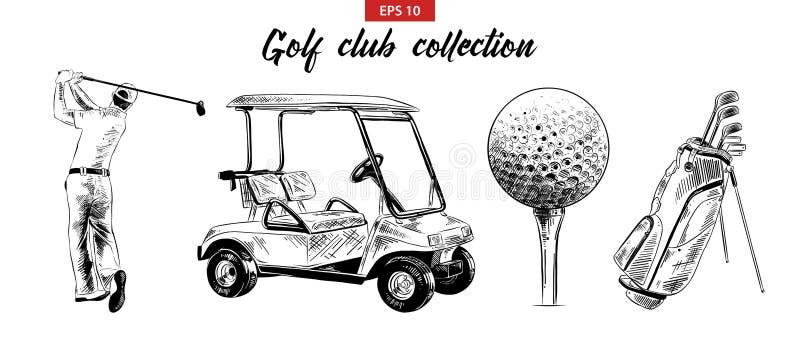 在白色背景和高尔夫球运动员黑色的隔绝的手拉的剪影套高尔夫球袋、推车、球 详细的葡萄酒蚀刻图画 向量例证