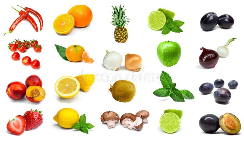 在白色背景和水果隔绝的彩虹蔬菜 库存图片