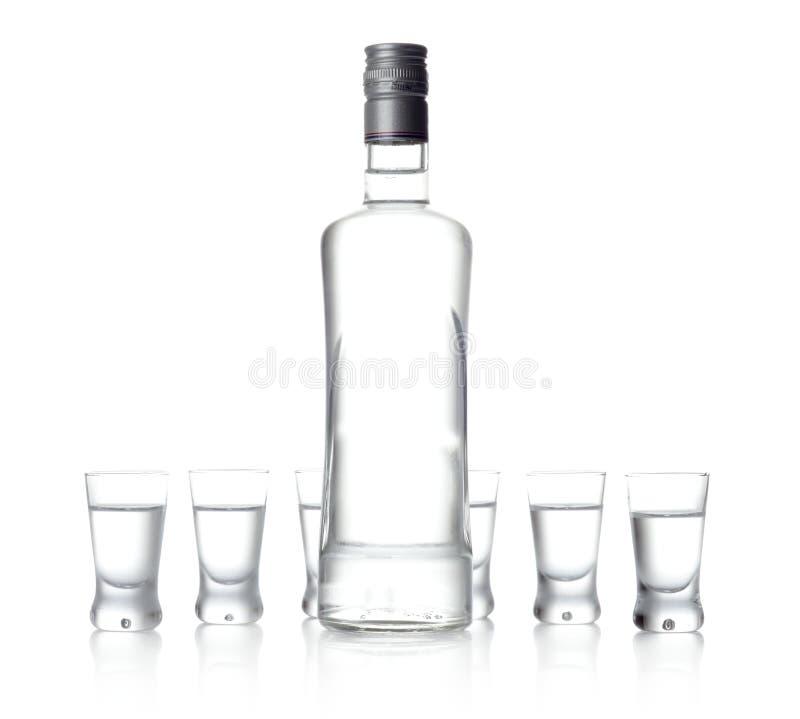在白色背景和玻璃隔绝的伏特加酒身分瓶 图库摄影