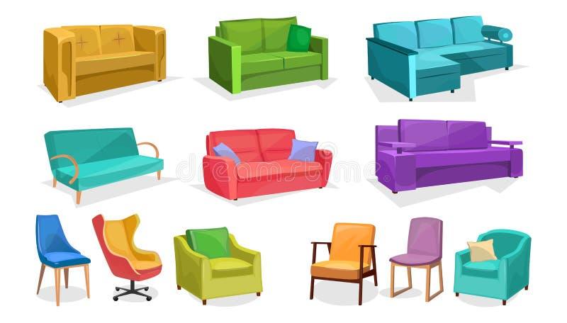 在白色背景在动画片样式的家或办公家具隔绝的 传染媒介沙发、扶手椅子和椅子集合 E 向量例证
