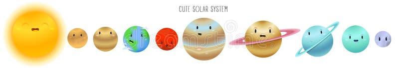 在白色背景在动画片样式的逗人喜爱的太阳系隔绝的 库存例证