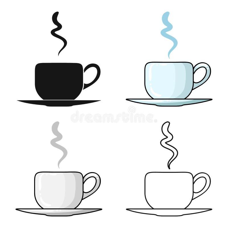 在白色背景在动画片样式的咖啡杯象隔绝的 餐馆标志股票传染媒介例证 皇族释放例证