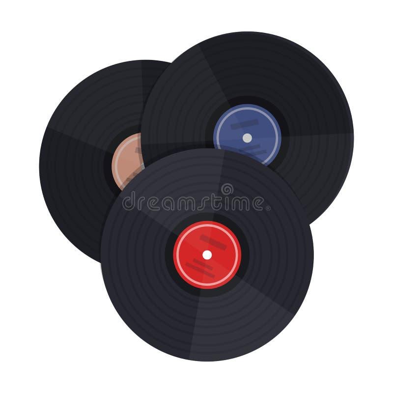 在白色背景在动画片样式的唱片象隔绝的 向量例证