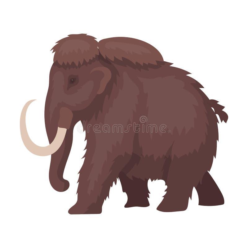 在白色背景在动画片样式的声势浩大的象隔绝的 恐龙和史前标志股票传染媒介例证 库存例证