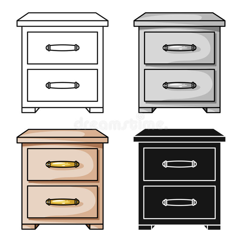 在白色背景在动画片样式的床头柜象隔绝的 家具和家内部标志股票传染媒介 皇族释放例证