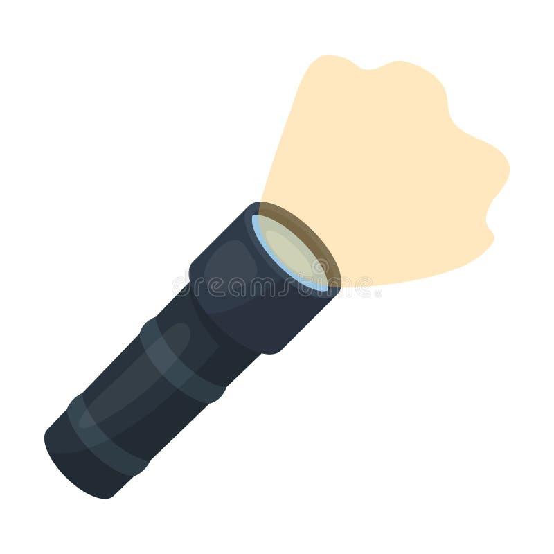 在白色背景在动画片样式的手电象隔绝的 警察标志 库存例证