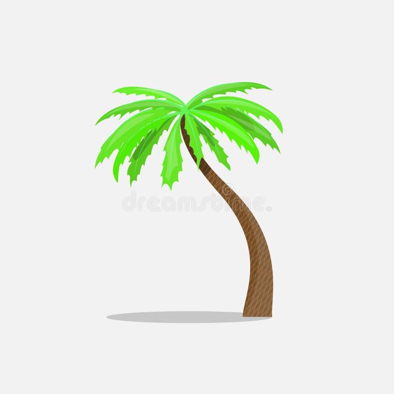 在白色背景在动画片样式的棕榈树隔绝的导航例证 热带夏天树植物标志 库存例证