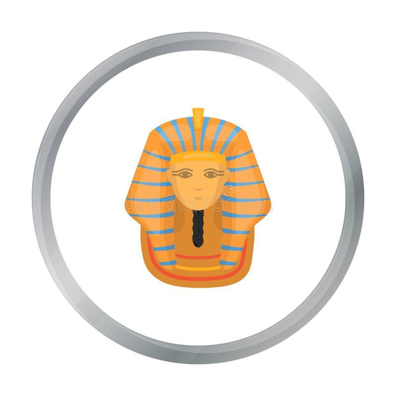 在白色背景在动画片样式的法老王` s金黄面具象隔绝的 古埃及标志股票传染媒介例证 库存例证