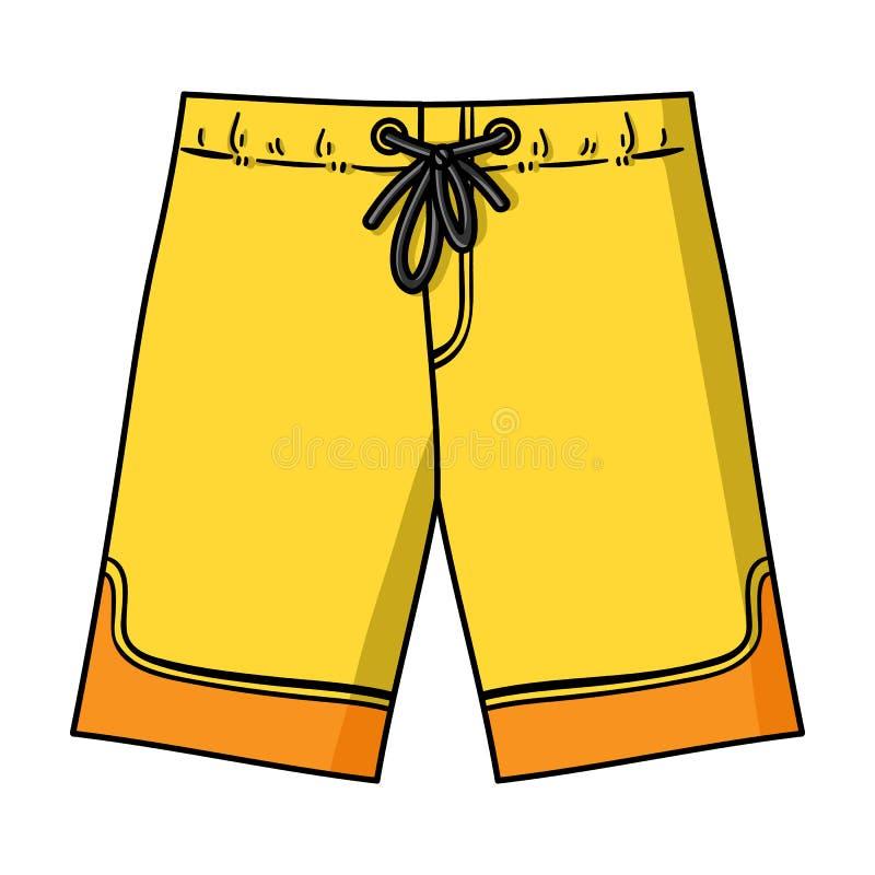 在白色背景在动画片样式的游泳裤象隔绝的 冲浪的标志储蓄传染媒介例证 皇族释放例证