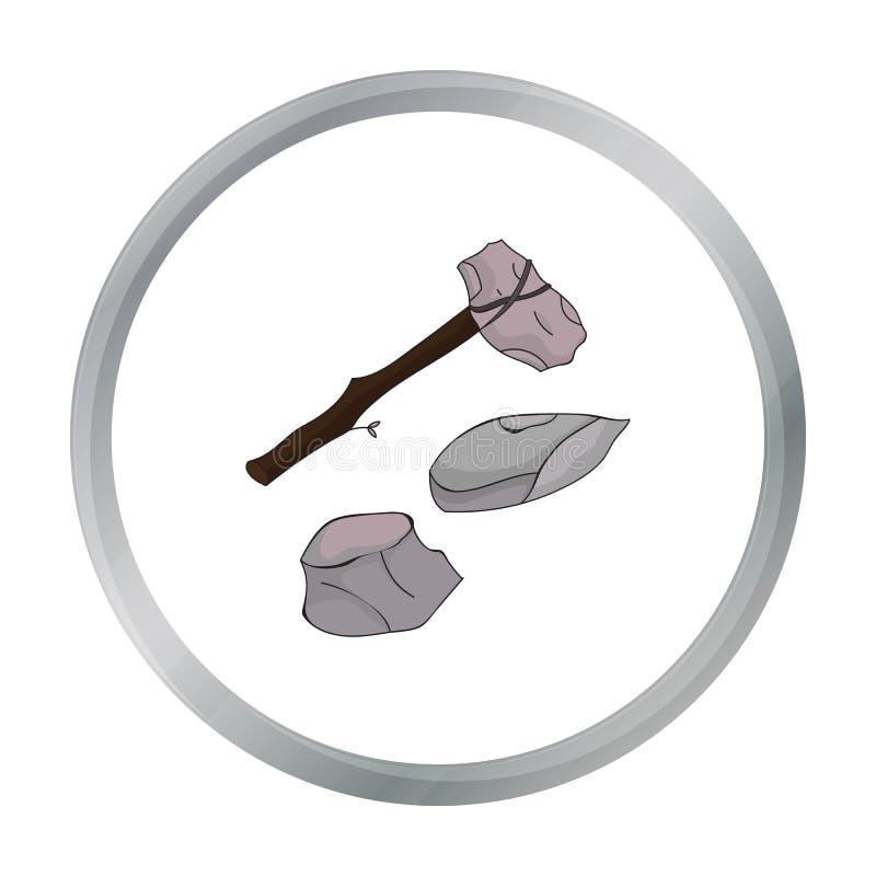 在白色背景在动画片样式的石器象隔绝的 石器时期标志股票 库存例证