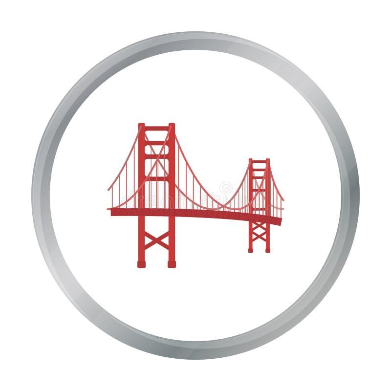 在白色背景在动画片样式的金门大桥象隔绝的 美国国家标志股票传染媒介例证 向量例证